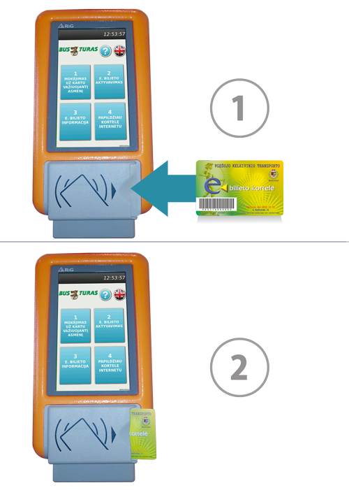 Elektroninio bilieto kortelės pildymas autobuse